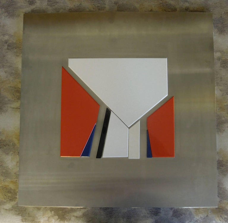 Hand-Crafted Artist Jean Baier Metal and Wood Abstract, Geneva Gallerie, 1971 For Sale