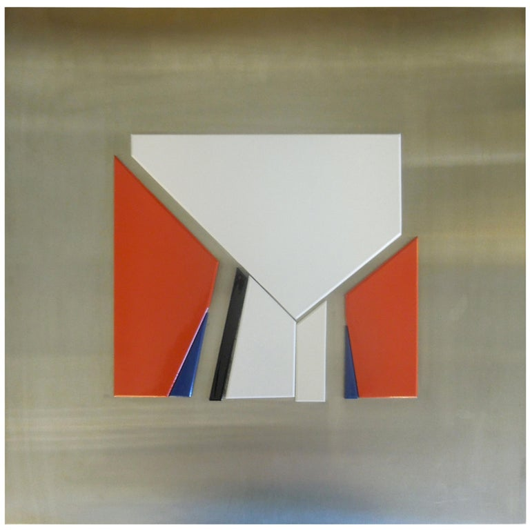 Artist Jean Baier Metal and Wood Abstract, Geneva Gallerie, 1971 For Sale