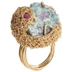 Artist Jewel One-Off Raw Zoisite and Ruby Cocktail Ring in 14 Krt Yellow Gold