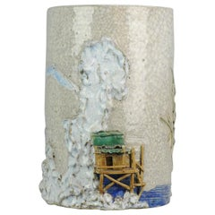 Artist Liang Ju Cheng Chinese porcelain ProC Bitong Brushpot Water Landscape