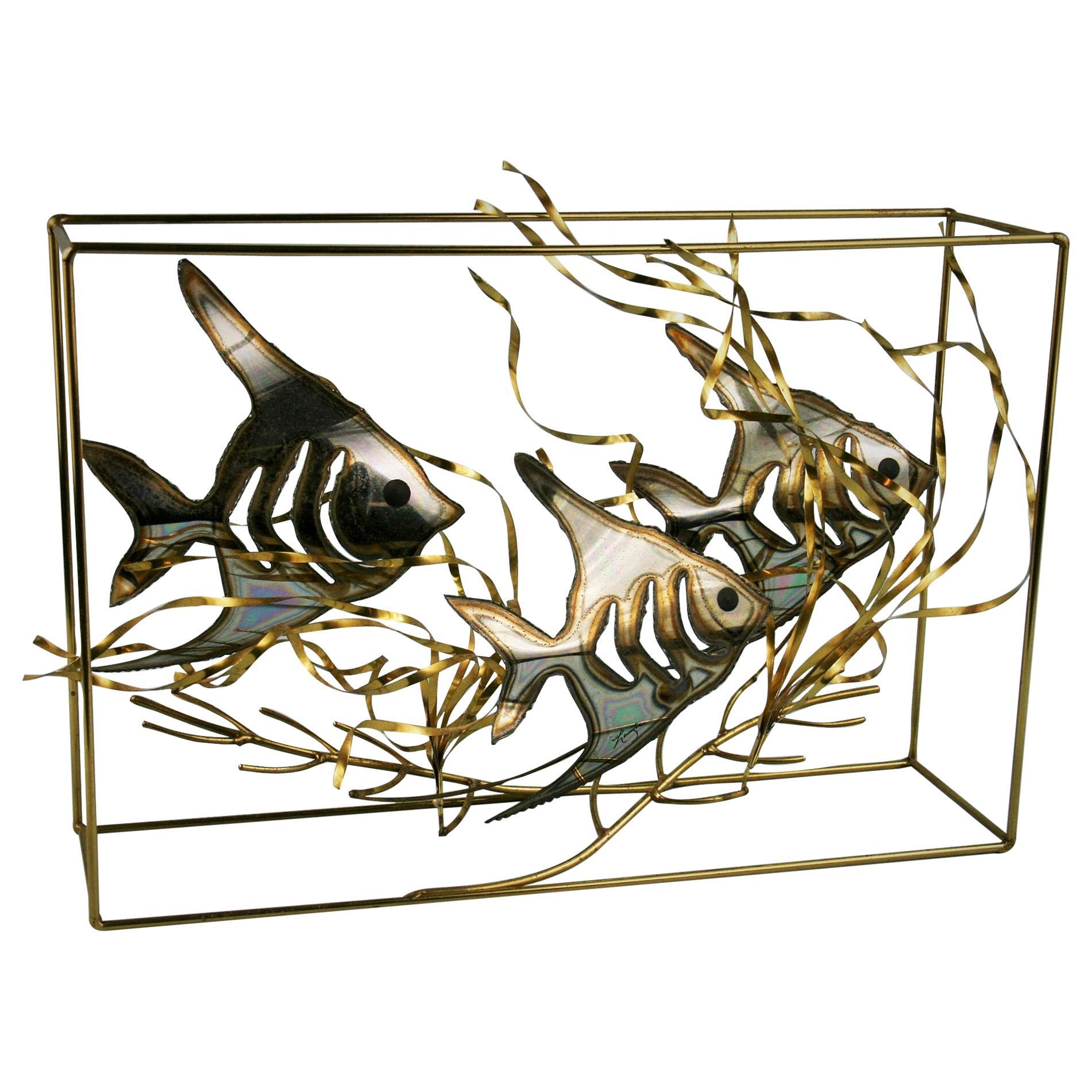 Artist Made Brass  Fish Aquarium Sculpture/Folk Art By Langton