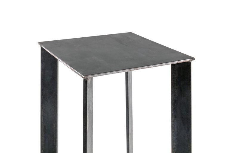 American Artist Made Industrial Steel Pedestal Stand by Robert Koch, USA, 2018 For Sale