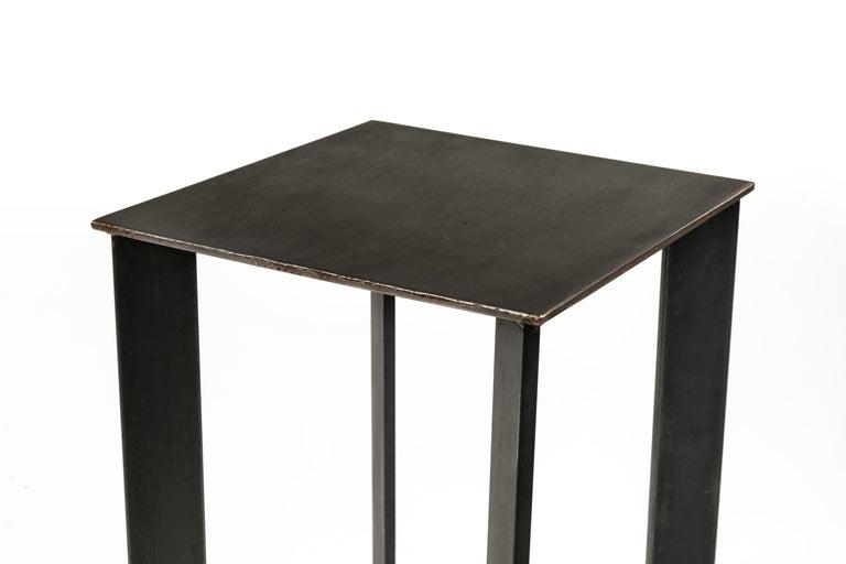 Welded Artist Made Industrial Steel Pedestal Stand by Robert Koch, USA, 2018 For Sale