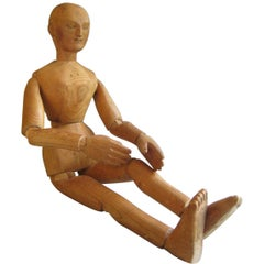Artist Mannequin circa 1900 Antique Carved Wood Lay Figure