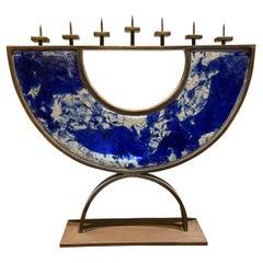 Artist made Menorah Arc Sculpture 7 Candle Cobalt Blue Sea Fused Glass & Bronze