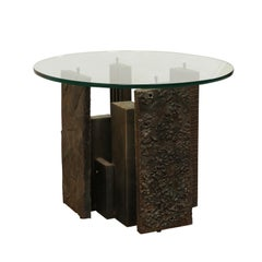 Artist Paul Evans Sculpted Brutalist Metal Side Table with Glass Top