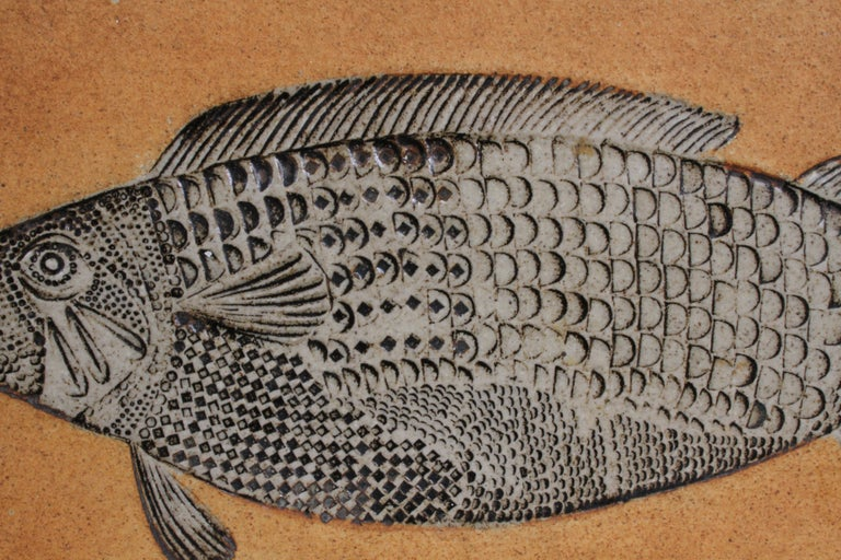 Mid-Century Modern Artist Roger Capron Ceramic Tile in the Style of a Prehistoric Fossil Fish For Sale