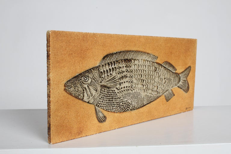 Glazed Artist Roger Capron Ceramic Tile in the Style of a Prehistoric Fossil Fish For Sale
