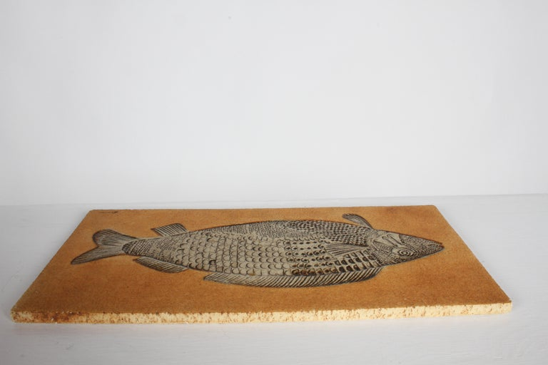 Mid-20th Century Artist Roger Capron Ceramic Tile in the Style of a Prehistoric Fossil Fish For Sale
