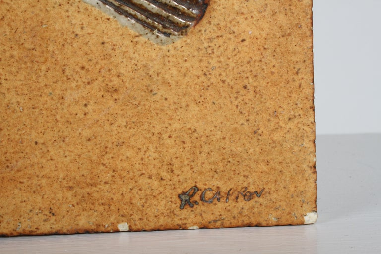 Artist Roger Capron Ceramic Tile in the Style of a Prehistoric Fossil Fish For Sale 2