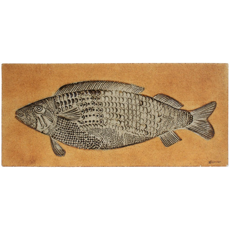 Artist Roger Capron Ceramic Tile in the Style of a Prehistoric Fossil Fish For Sale
