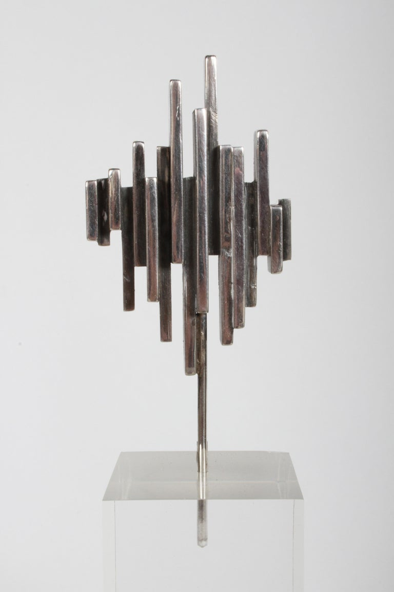 Late 20th Century Artist R.W. Smith Mid-Century Modern Sterling Abstract Sculpture on Lucite Base For Sale