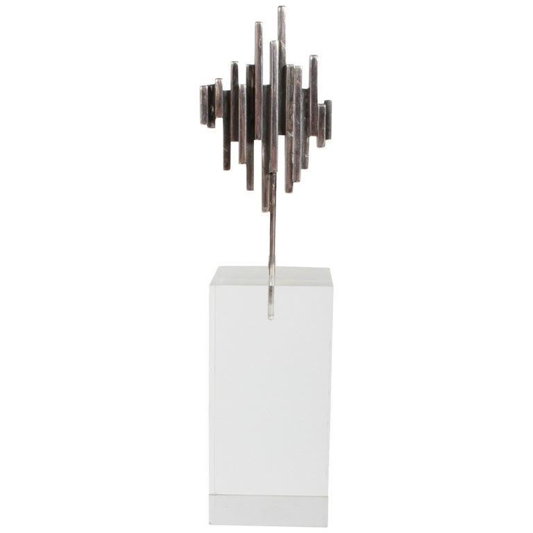Artist R.W. Smith Mid-Century Modern Sterling Abstract Sculpture on Lucite Base For Sale