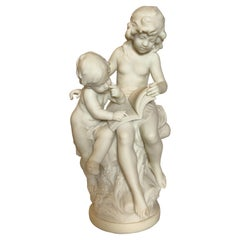 Artist signed French Marble Sculpture of Siblings by Auguste Moreau