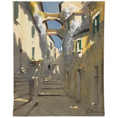 Artist Signed French Painting, French Village