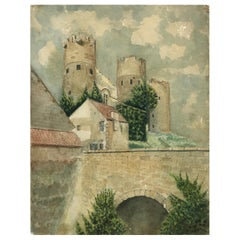 Artist Signed French Painting, Medieval Fortress of Bourbon l' Archambault