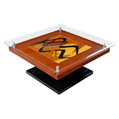 Artist Signed Modern Rosewood Wood Inlay Marquetry Pedestal Coffee Table