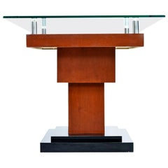 Artist Signed Modern Rosewood Wood Inlay Marquetry Pedestal Side Table