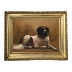 Artist Signed Oil on Canvas of a Saint Bernard Dog, Dated 1903