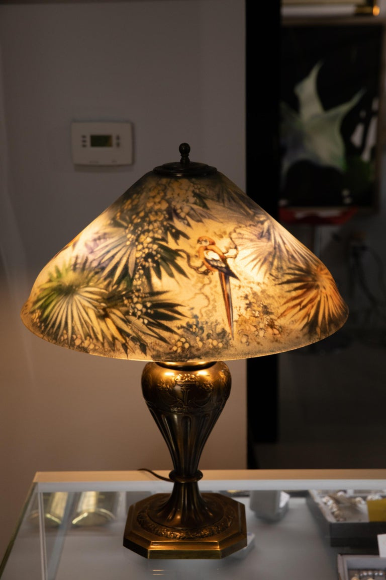 Art Deco Artist Signed Pairpoint Reverse Painted Lamp, circa 1920s For Sale