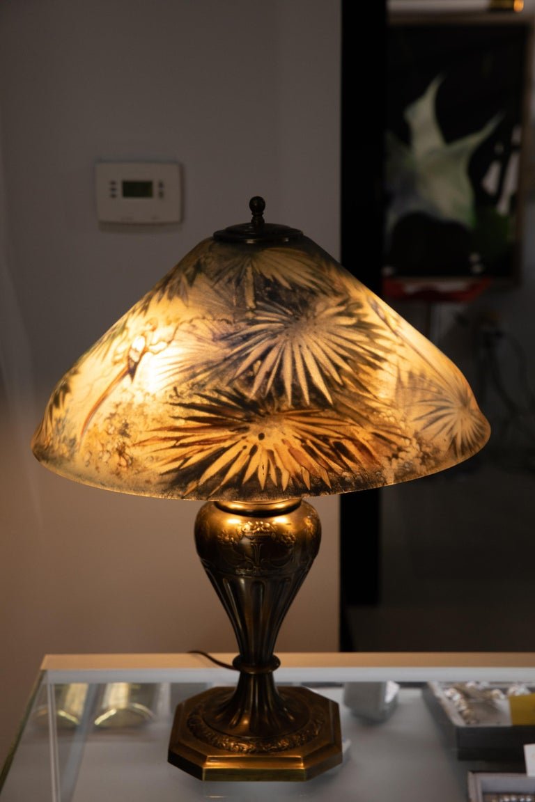 Hand-Painted Artist Signed Pairpoint Reverse Painted Lamp, circa 1920s For Sale