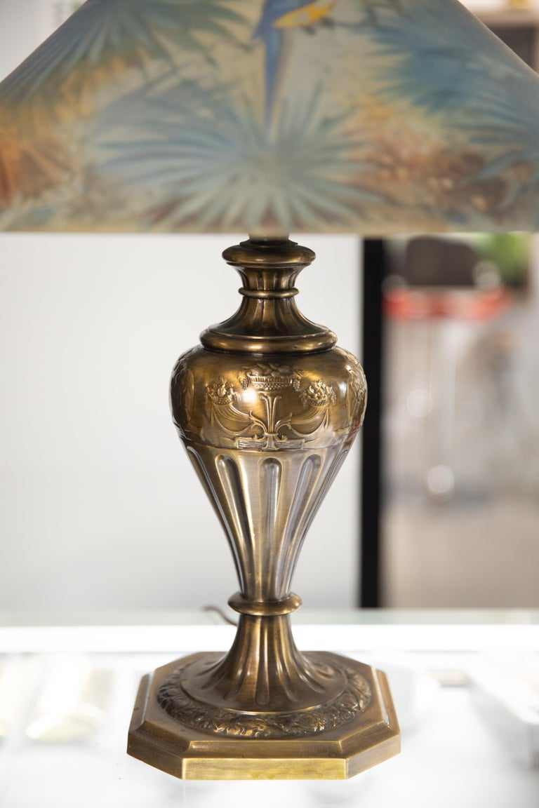Artist Signed Pairpoint Reverse Painted Lamp, circa 1920s In Good Condition For Sale In Hudson, NY