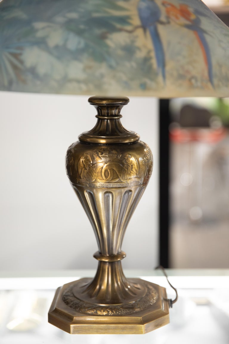 Early 20th Century Artist Signed Pairpoint Reverse Painted Lamp, circa 1920s For Sale