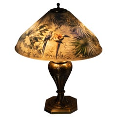 Artist Signed Pairpoint Reverse Painted Lamp, circa 1920s