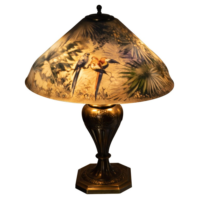 Artist Signed Pairpoint Reverse Painted Lamp, circa 1920s For Sale
