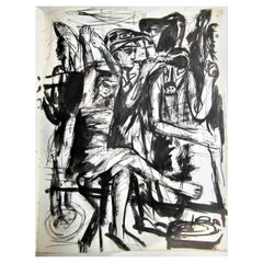 Artist Sketchbook Ink Gouaches Classical Female Male Nudes Wrestlers - 1951