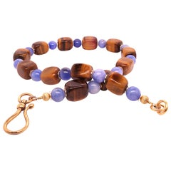 Artistic Autumn Necklace of Tiger's Eye and Blue Agate