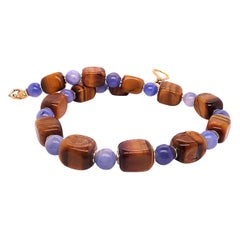 Gemjunky Artistic Autumn Tone Necklace of Tiger's Eye and Blue Agate