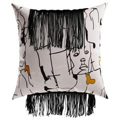 Artistic Black & White Cushion, Face Pattern Velvet Pillow Black Leather Fringes