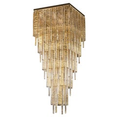 Artistic Ceiling Light Gold Glass Murano Listels Charleston by Multiforme