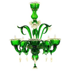 Artistic Chandelier 5 Arms Green Murano Glass, Clear-Gold Details by Multiforme