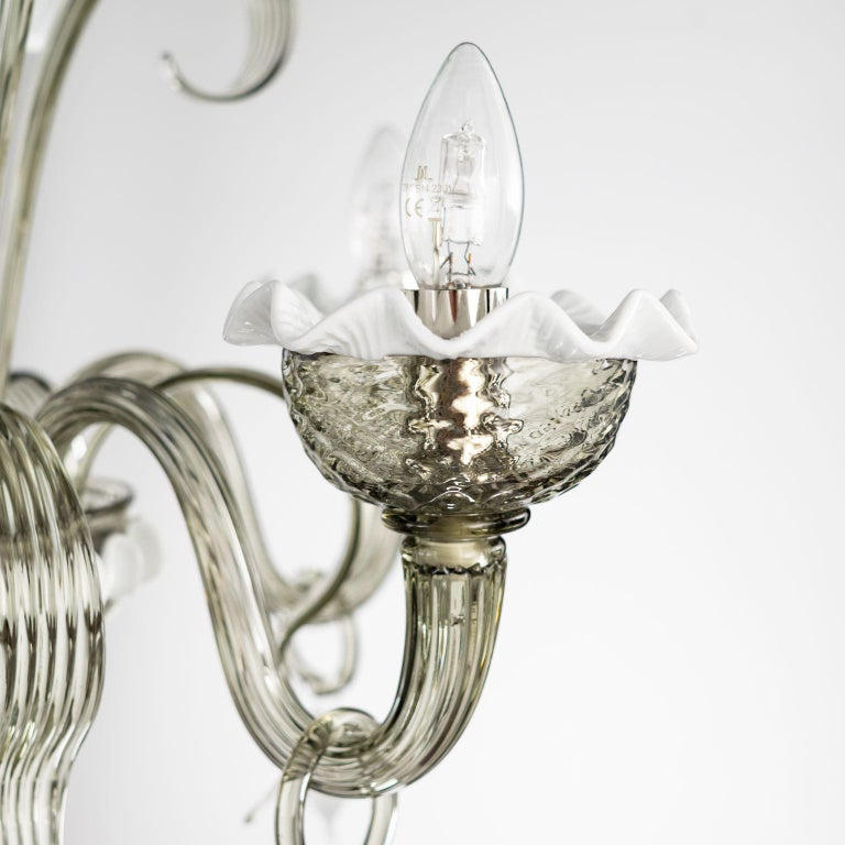 Artistic Chandelier 5 Arms Dark Grey Murano Glass White Details by Multiforme For Sale 5