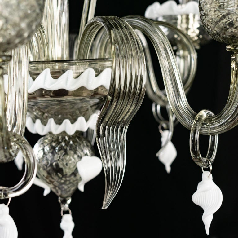 Artistic Chandelier 5 Arms Dark Grey Murano Glass White Details by Multiforme For Sale 2