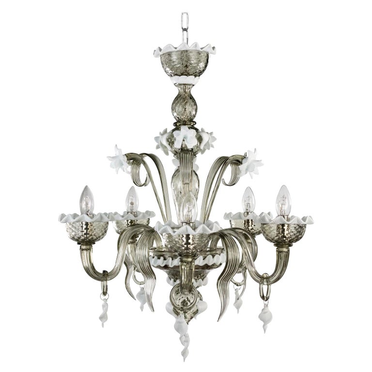 Artistic Chandelier 5 Arms Dark Grey Murano Glass White Details by Multiforme For Sale