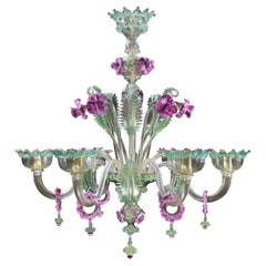 Artistic Chandelier 6 Arms Gold Murano Glass Pink and Gree Details by Multiforme