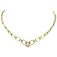 Artistic Diamond Link Necklace in Yellow Gold