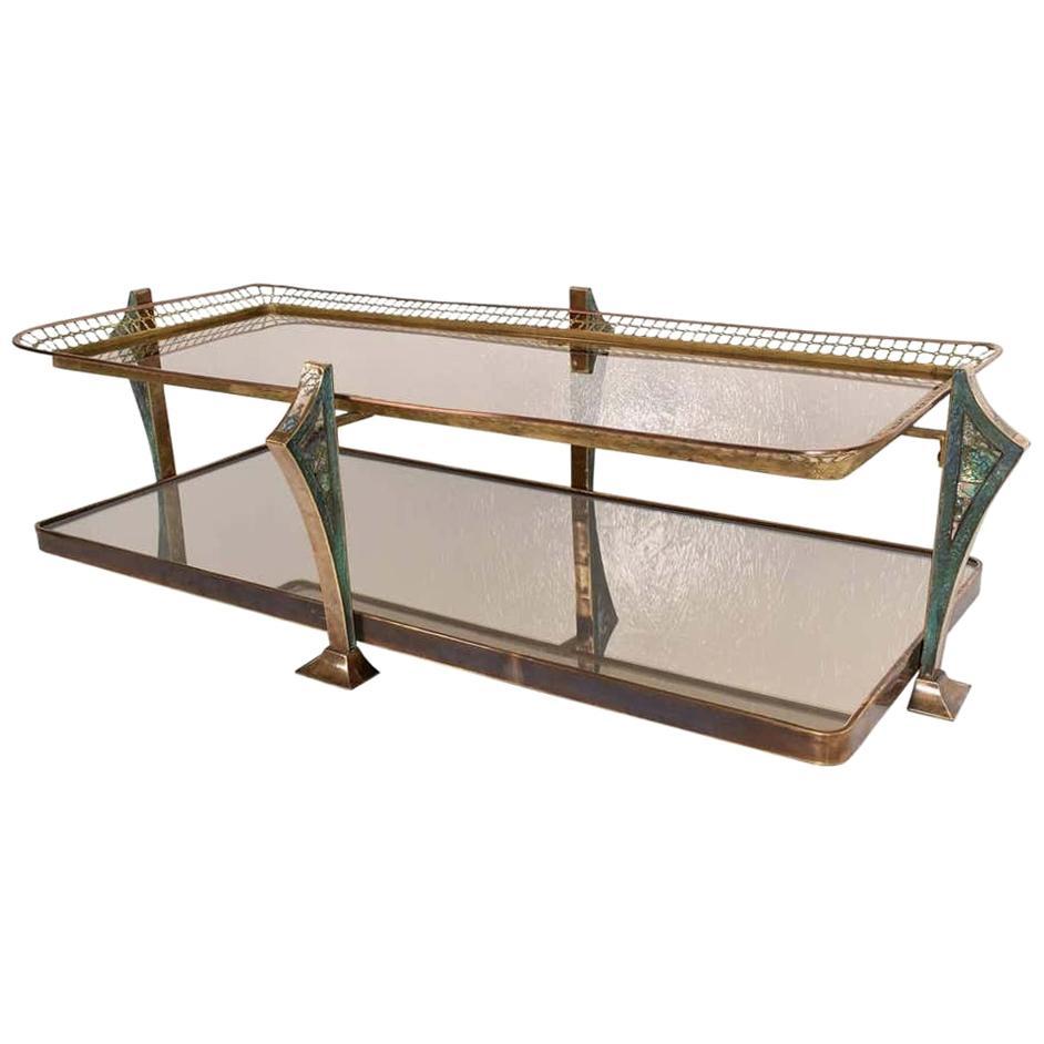 Artistic Glass Coffee Table Brass and Malachite Pepe Mendoza Modernism, 1950s