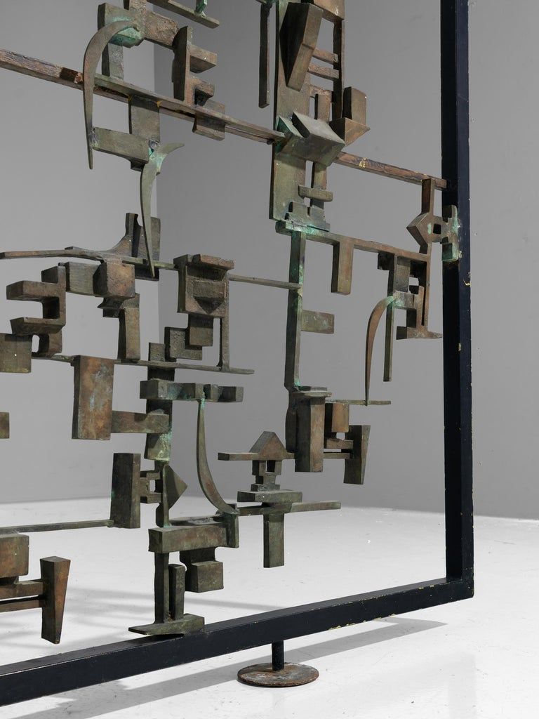 Mid-Century Modern Artistic Hand-Crafted Room Divider in Bronze For Sale