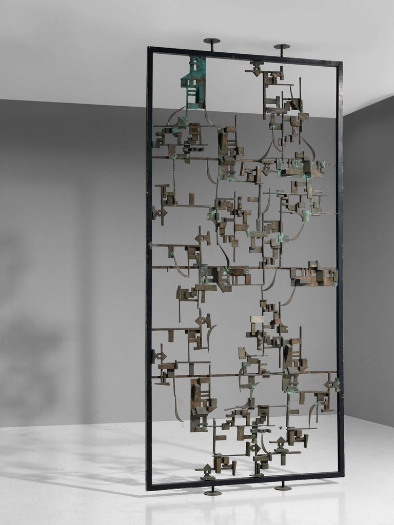 Italian Artistic Hand-Crafted Room Divider in Bronze For Sale