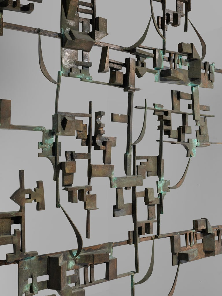 Artistic Hand-Crafted Room Divider in Bronze In Good Condition For Sale In Waalwijk, NL