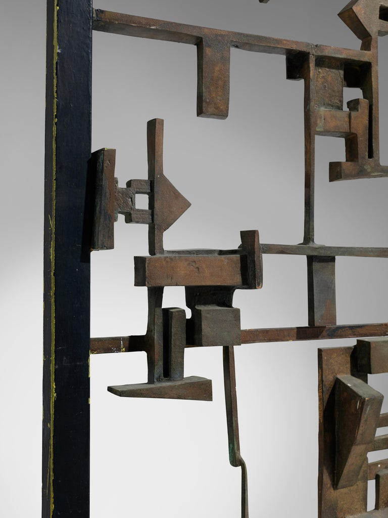 Metal Artistic Hand-Crafted Room Divider in Bronze For Sale
