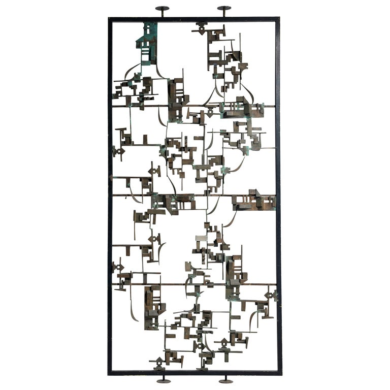 Artistic Hand-Crafted Room Divider in Bronze For Sale