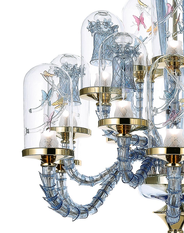 The Jardin de Verre collection by Alessandro La Spada, a love story between man and nature, the tale of a nineteenth century English Doctor, Nathaniel B. Ward, who was passionate about botany.   The chandelier, as well as the wall lamps, bases