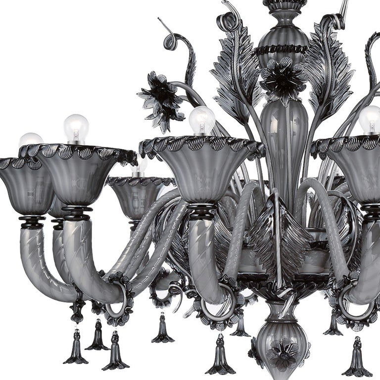 Artistic handmade Murano glass chandelier Veneziano by La Murrina, blowed in our furnace in Murano - Venice following the ancient glassmaster's art.  Additional information: -Material: Murano glass - Hardware finishing: Chrome - Dimensions: H.