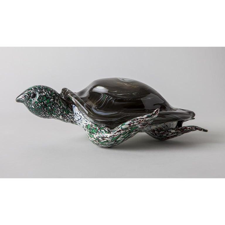 Modern Artistic Handmade Murano Glass Sculpture Aquamarine Turtle For Sale
