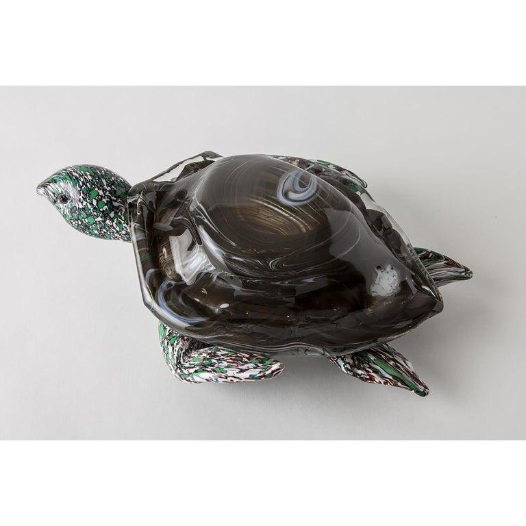 Artistic Handmade Murano Glass Sculpture Aquamarine Turtle In New Condition For Sale In Murano, IT
